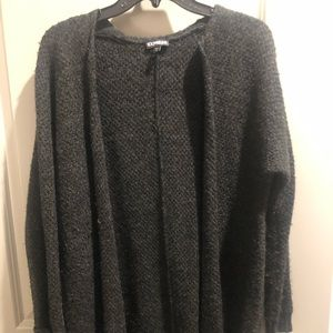 Express long, thick knit cardigan in grey - S